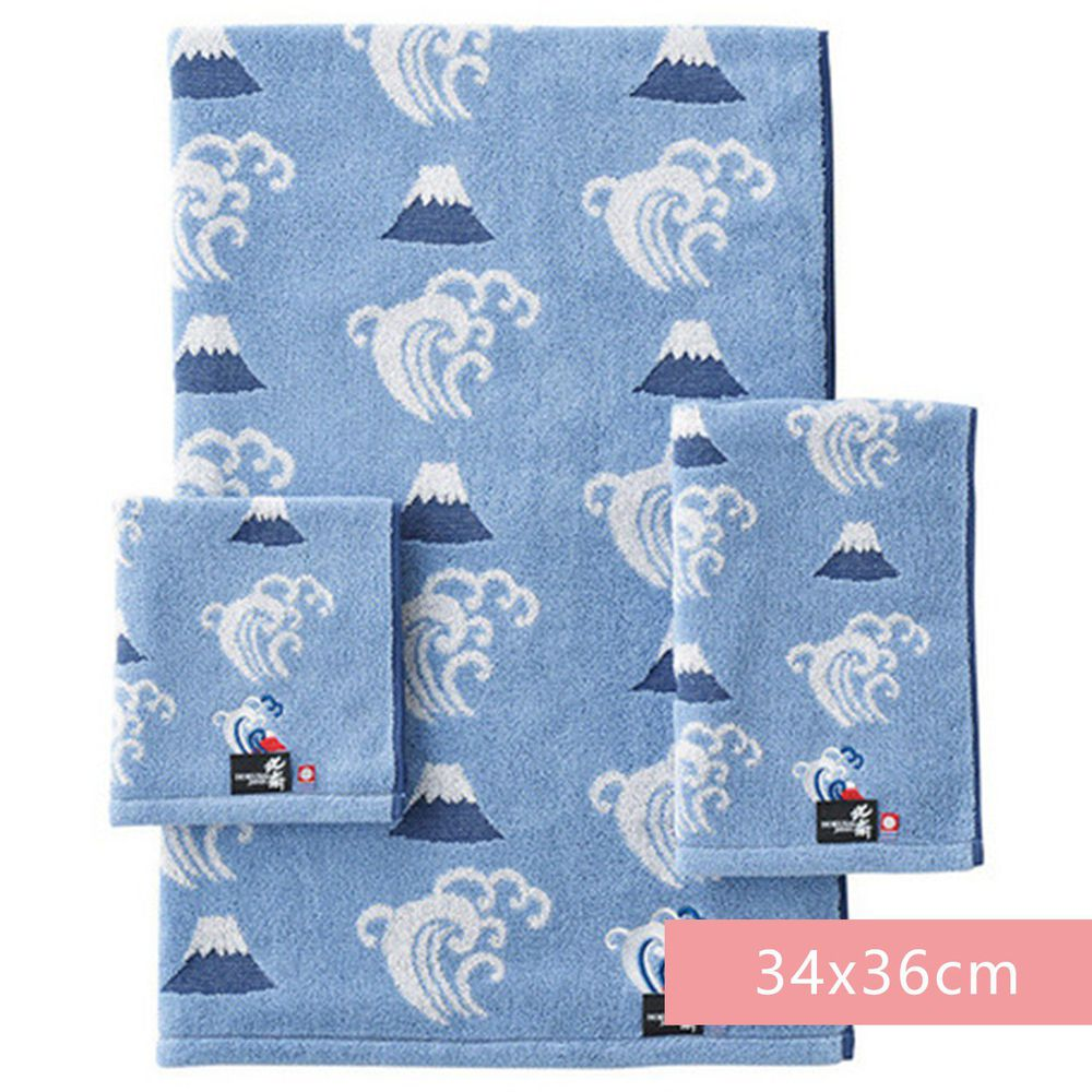 日本代購 - 日本製今治純棉方巾-富士與富嶽浪-藍 (34x36cm)