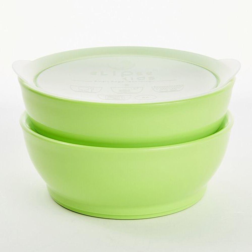 新加坡 eLipseKids - 附蓋學習餐碗兩入組-綠-355ml