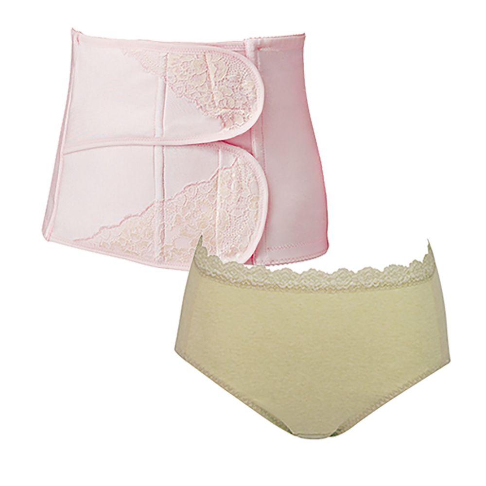 日本 Combi - 產後束腹帶-粉色(L)+天然彩棉產婦褲-綠色-(M/L/XL) 1+1 實用組 (Lx1+Mx1)