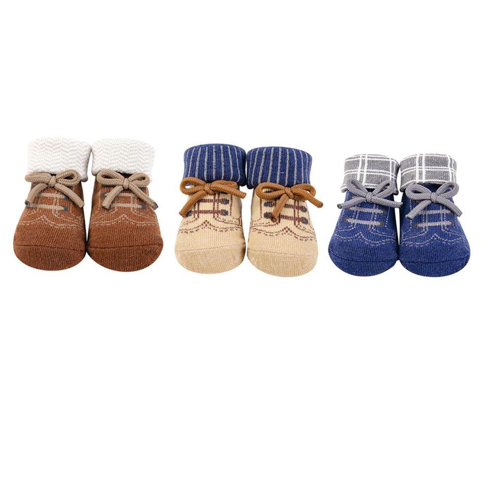 美國 Luvable Friends - 嬰兒襪/寶寶襪/初生襪 3入組-英倫紳士 (0-9M)