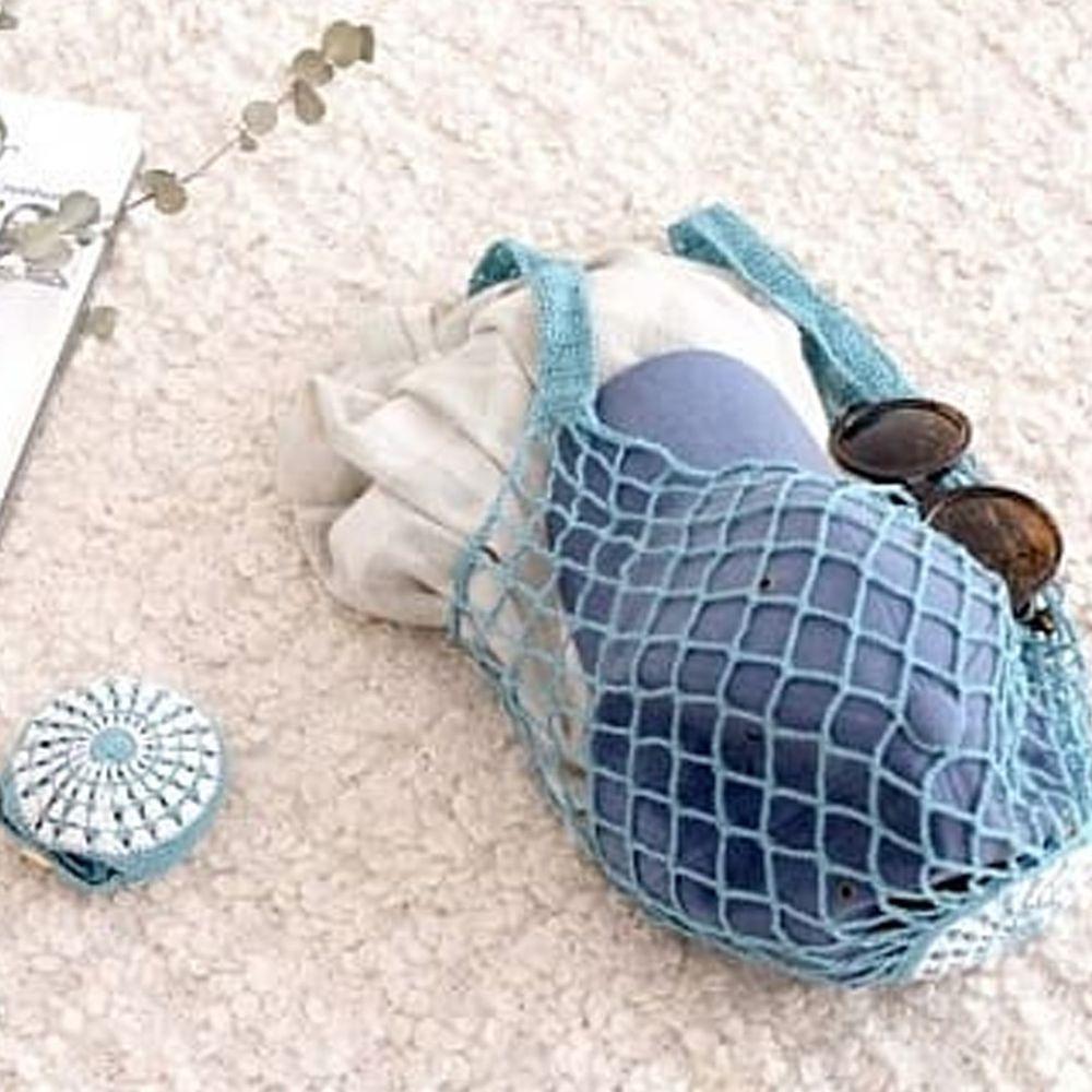 仁舟淨塑 - 貝殼棉網包-湖水綠