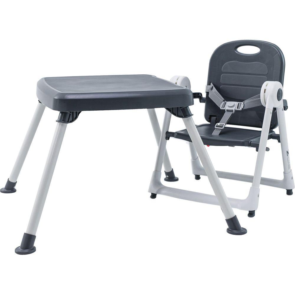 美國 ZOE - 折疊餐椅 x 折疊桌-附白色小餐盤-奢華灰