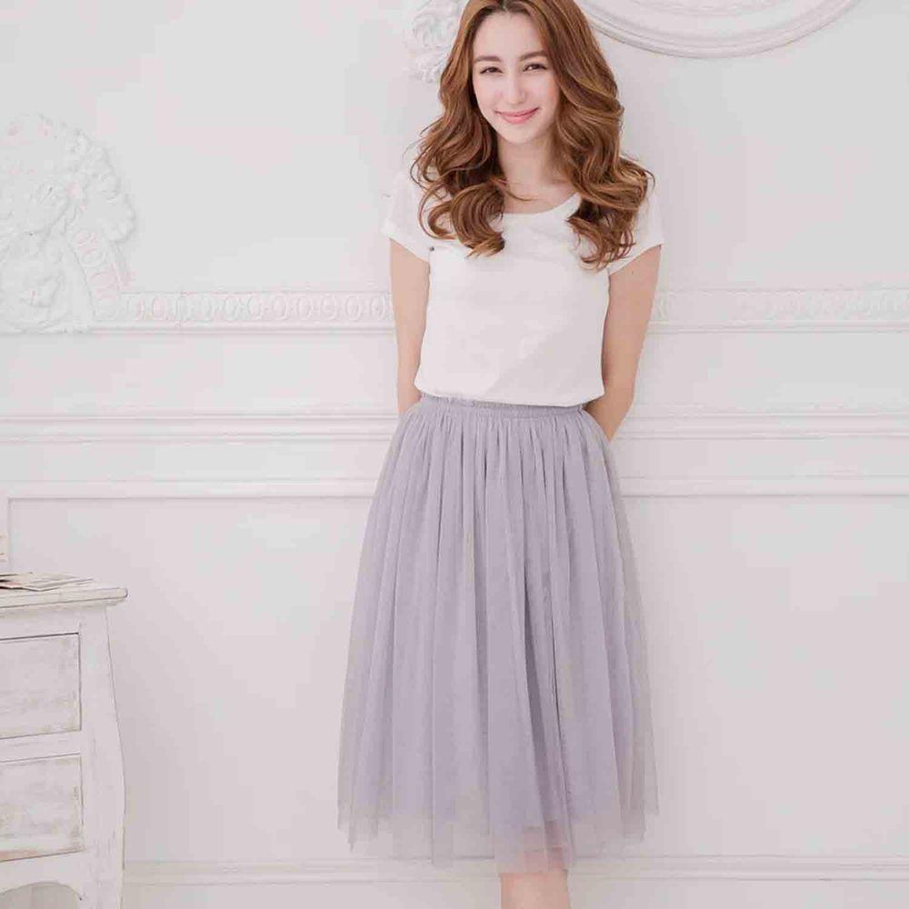 Peachy - 獨家訂製綿柔半身紗裙-半身中長版-溫柔灰 (F)