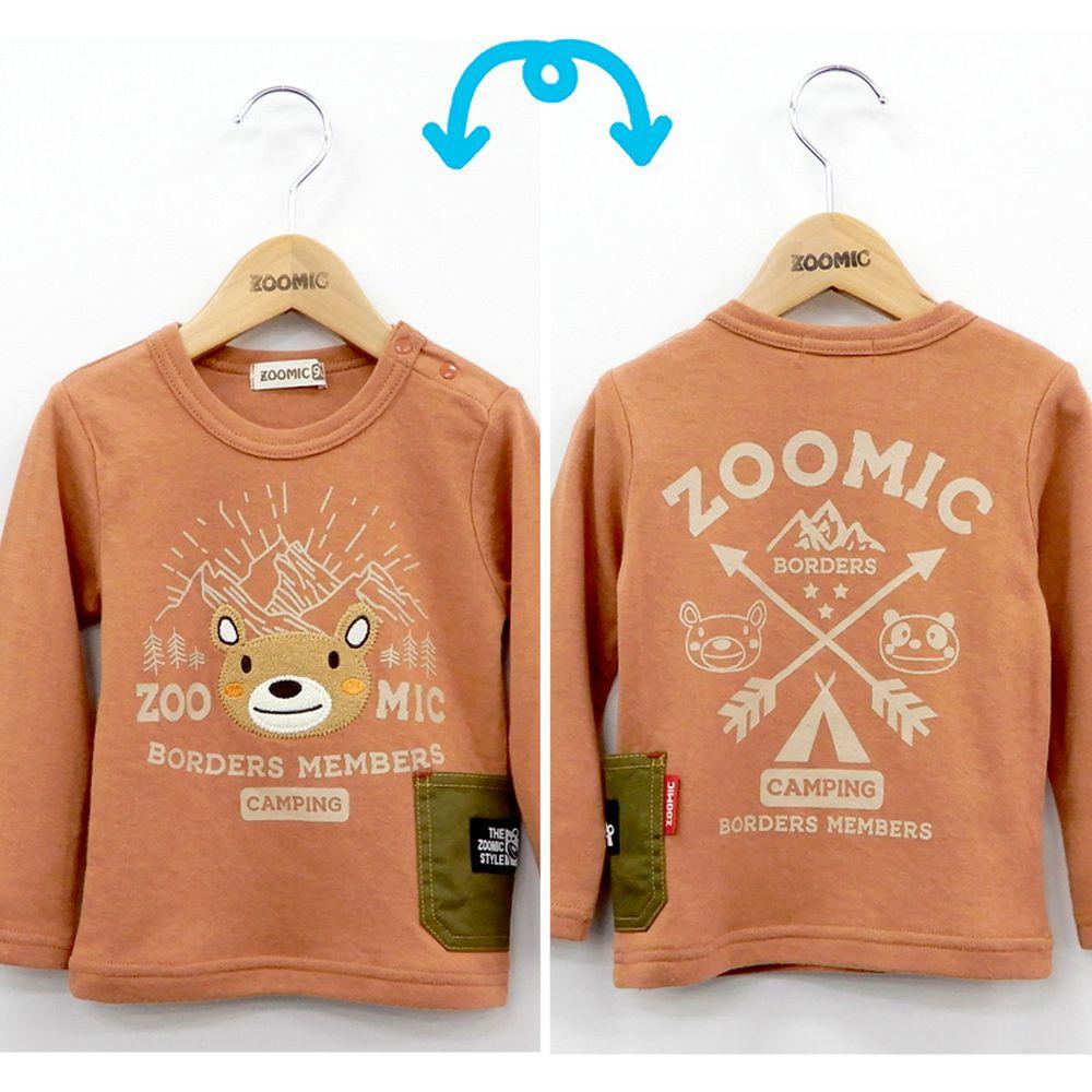 日本 ZOOLAND - 印花拼接長T-登山好友-橘小熊
