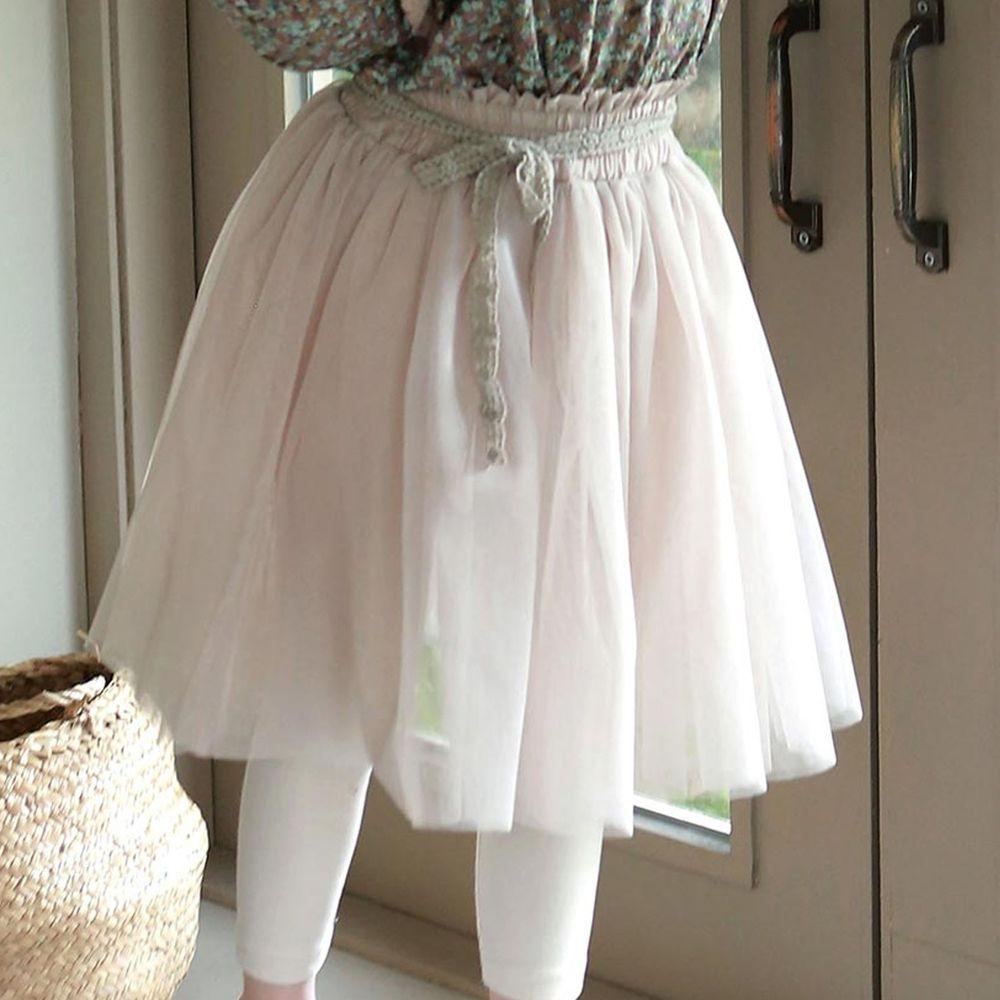 韓國 PuellaFLO - 腰際緞帶紗褲裙-杏