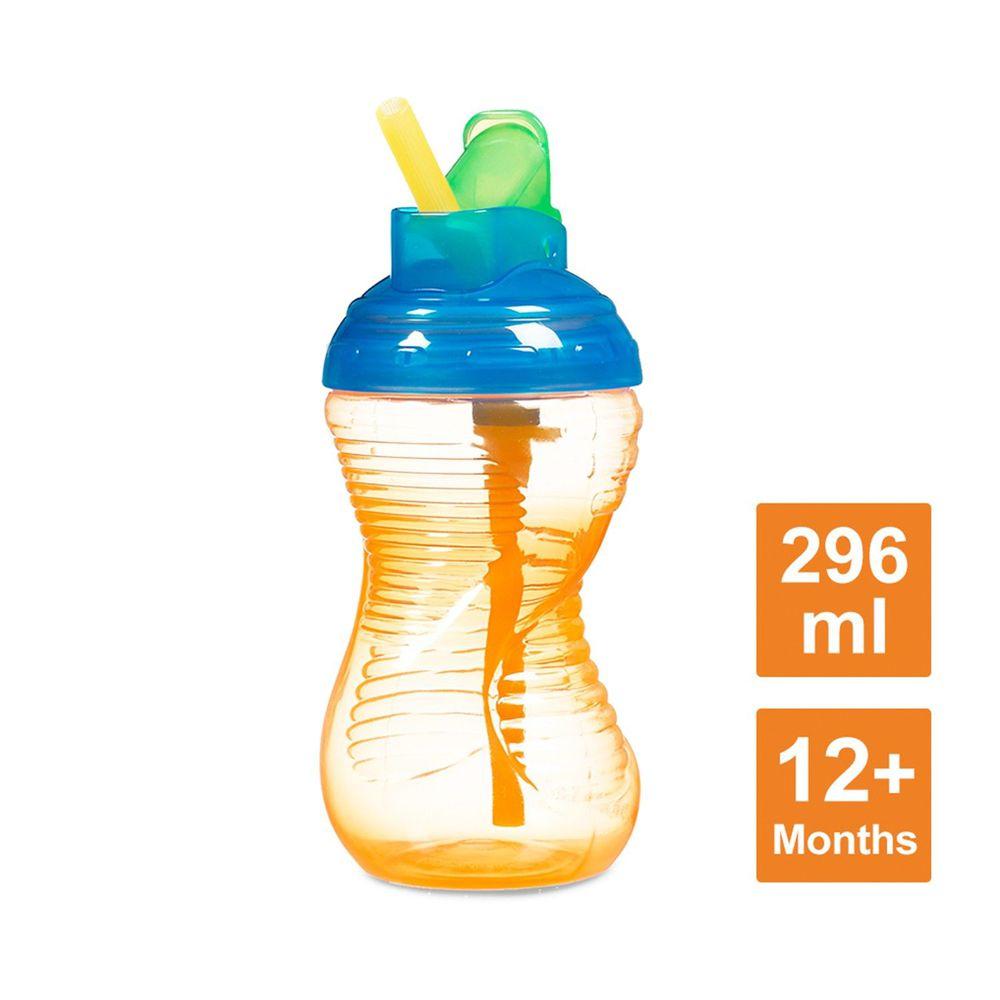 美國 munchkin - 好握吸管防漏杯296ml-橘 (12M+)