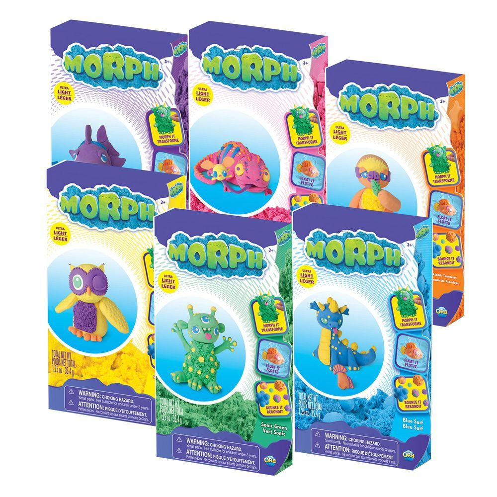 瑞典 MORPH - 【小試身手】魔塑黏土-藍M+綠M+黃M+橘M+粉M+紫M-35.4g×6