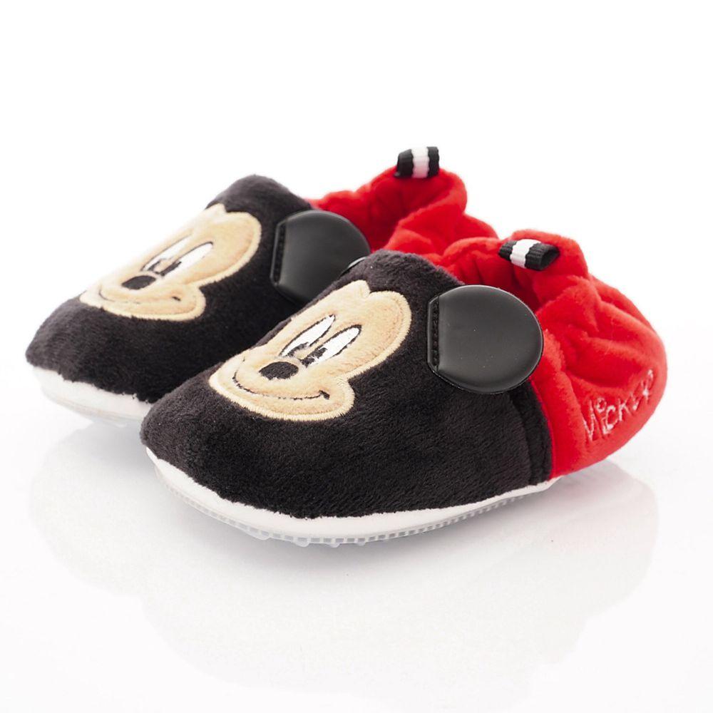 Disney - 迪士尼童鞋-米奇電繡絨毛學步鞋款 (寶寶段)-黑紅