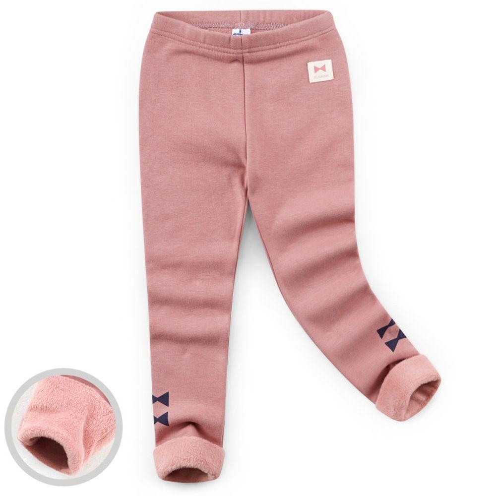 韓國 Jelispoon - (內刷毛)雙蝴蝶結內搭褲-粉紅