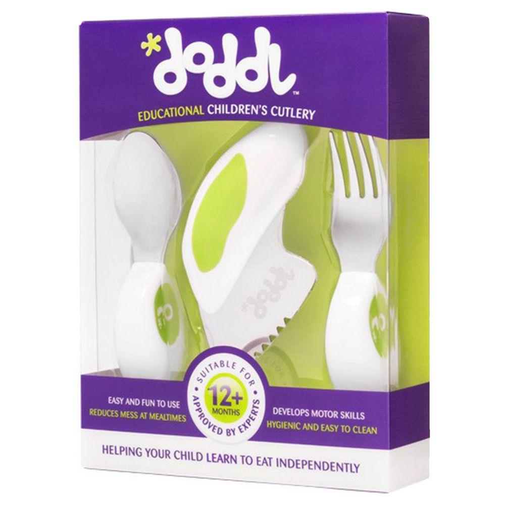 英國 Doddl - 人體工學幼兒學習餐具三件組-綠色-單組
