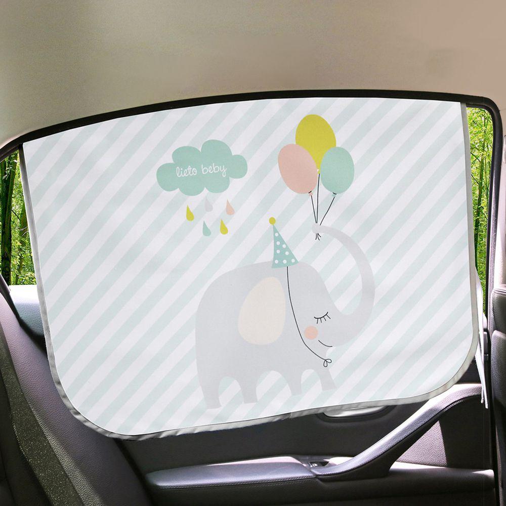 韓國 Lieto baby - 磁鐵式三層抗UV遮陽窗簾-馬戲團大象 (67*48cm)