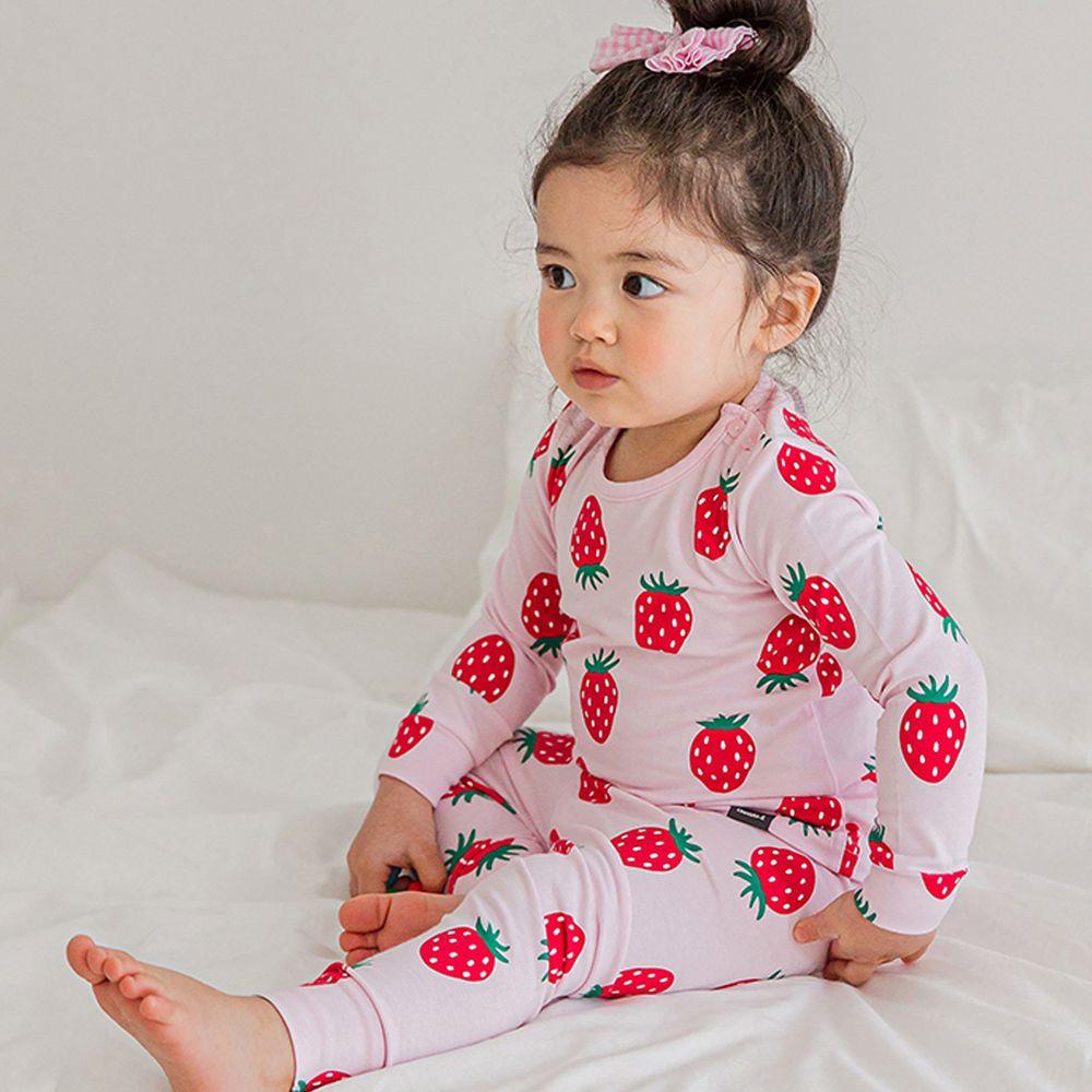 韓國 Cordi-i - 無螢光棉薄款長袖家居服-粉紅草莓