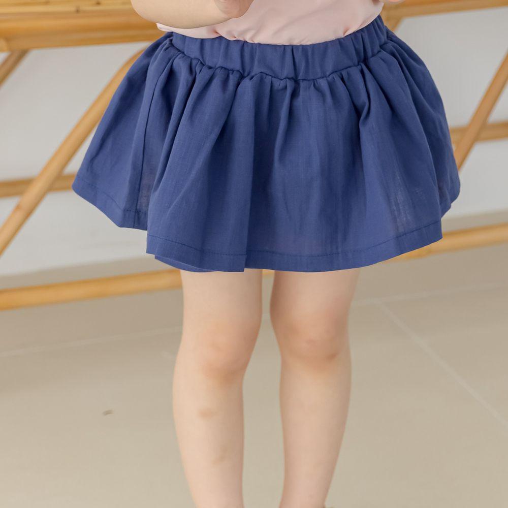 韓國 Orange Mom - 鬆緊褲頭單色褲裙-深藍
