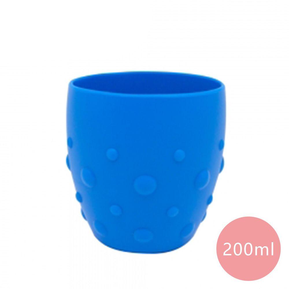 MARCUS&MARCUS - 動物樂園矽膠防滑學習杯-藍色-200ml
