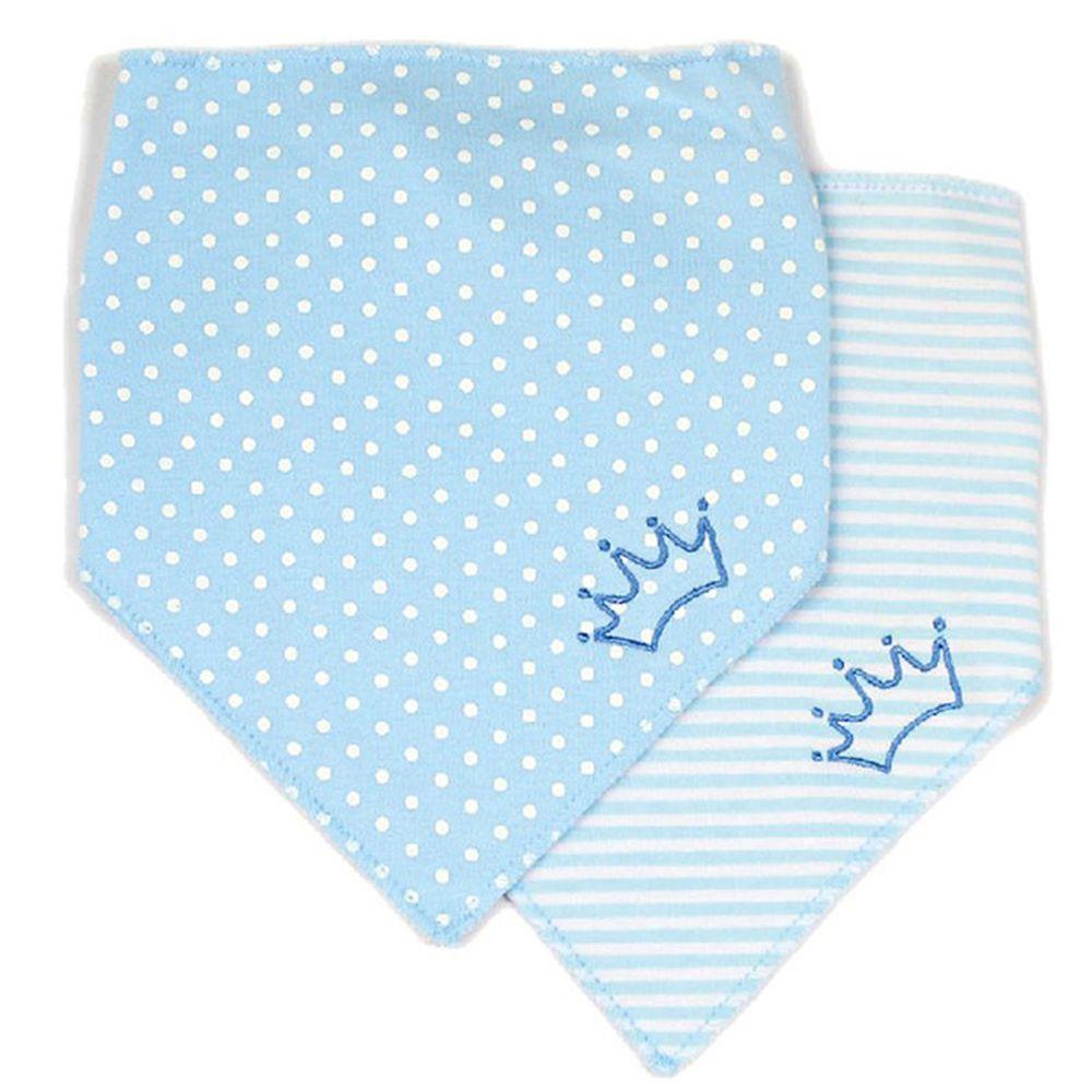 美國 Luvable Friends - 100%純棉嬰幼兒三角領巾/口水巾圍兜2入組-小皇冠 (單一尺寸)
