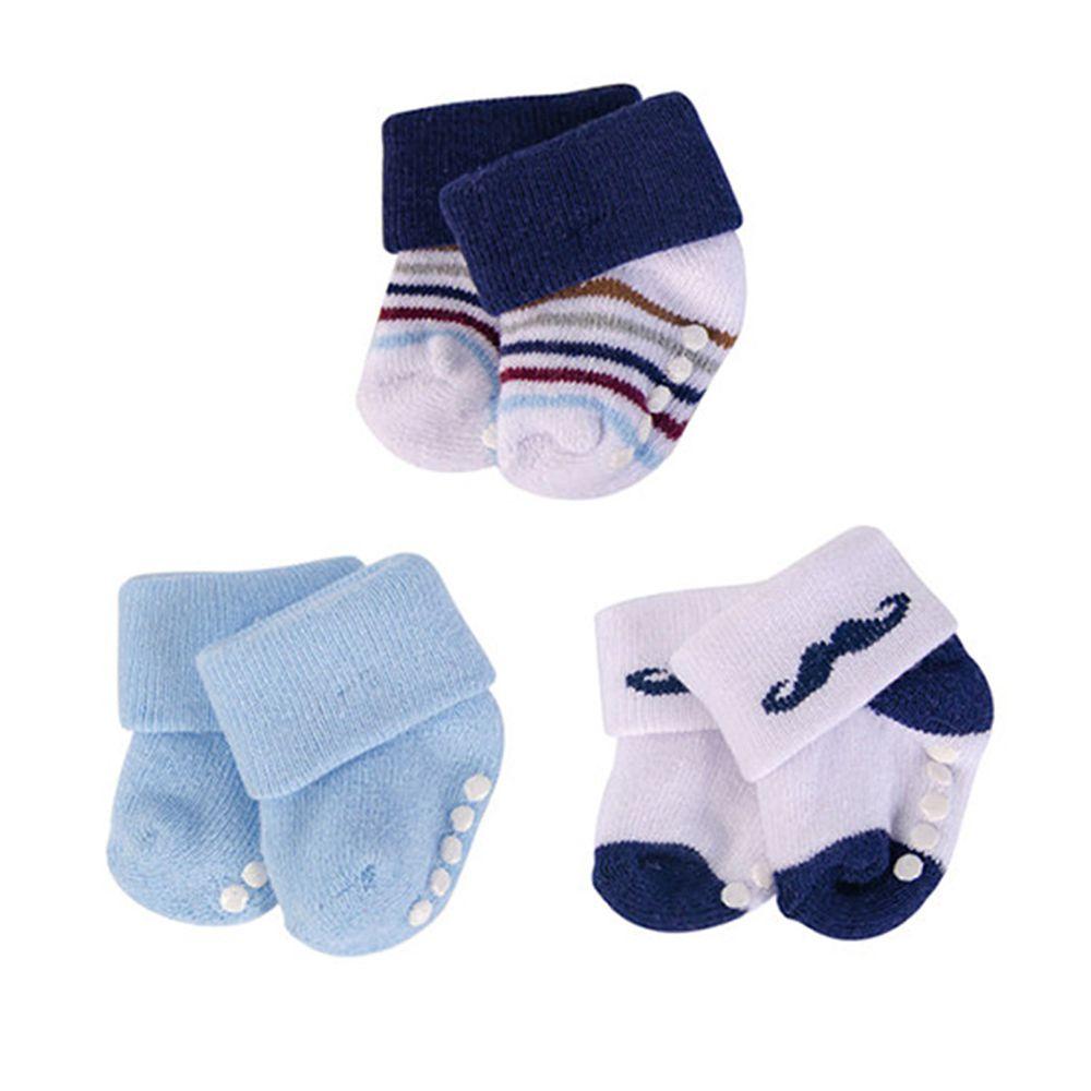 美國 Luvable Friends - 嬰兒襪/寶寶襪/初生襪 3入組-翹鬍子 (0-6M)