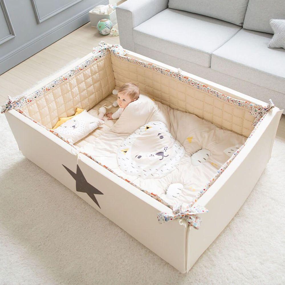 韓國 GGUMBI/DreamB - GGUMBI 多功能圍欄式地墊嬰兒床-米星星