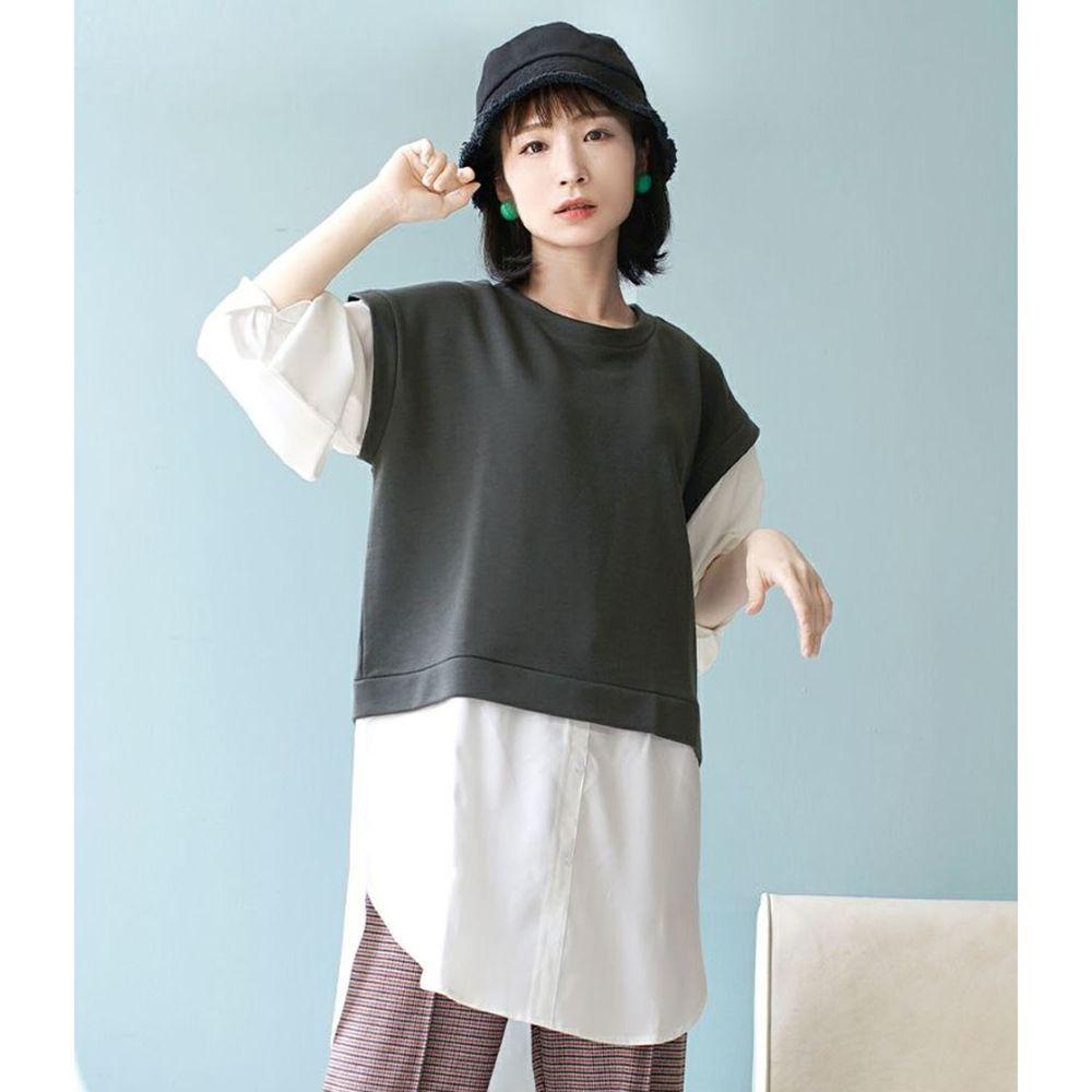日本 zootie - 假兩件異材質襯衫背心造型長袖上衣-深灰