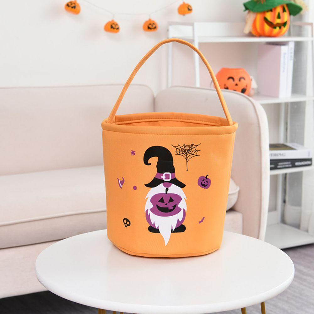 萬聖節糖果手提籃-紫色南瓜怪-橘色