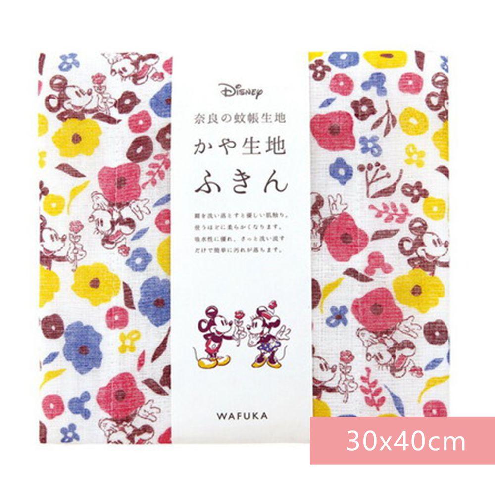 日本代購 - 【和布華】日本製奈良五重紗 方巾-米奇米妮告白花園 (30x40cm)