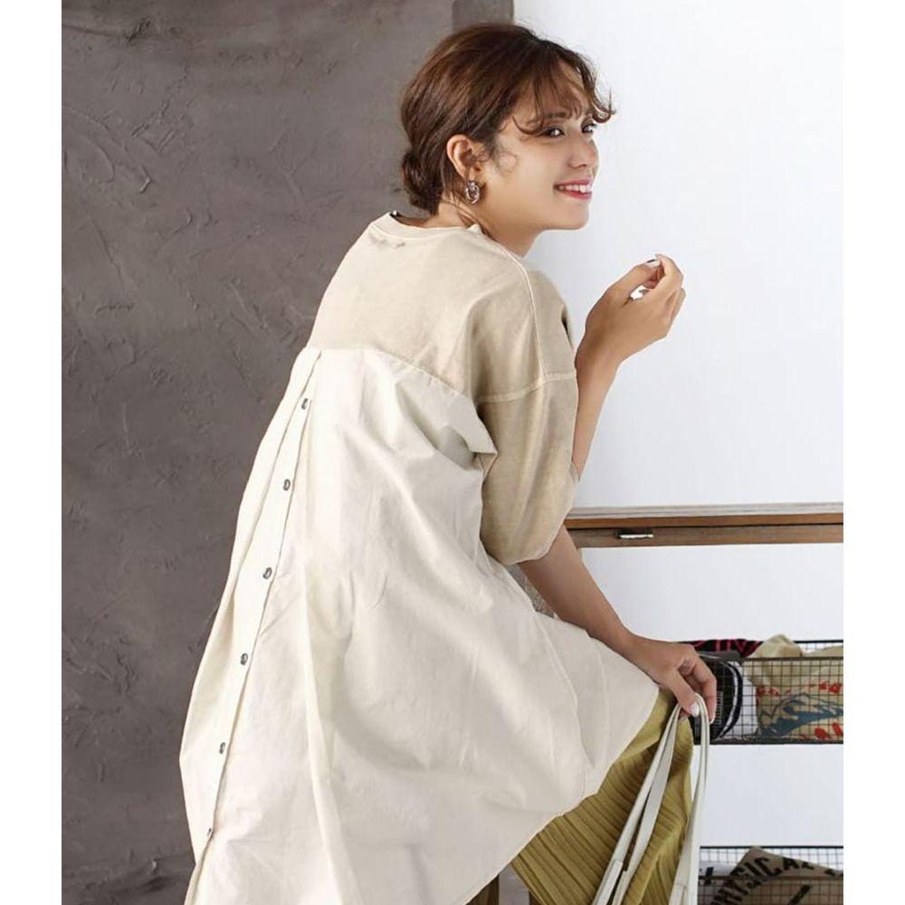 日本 zootie - 純棉異材質排釦後打褶設計寬鬆薄五分袖上衣-米