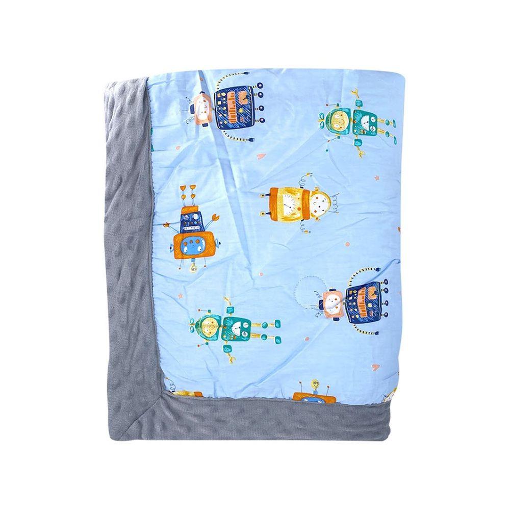 JoyNa - 加厚款-多功能被套毯 兒童棉被-灰色機器人-加厚款 (110*140cm)