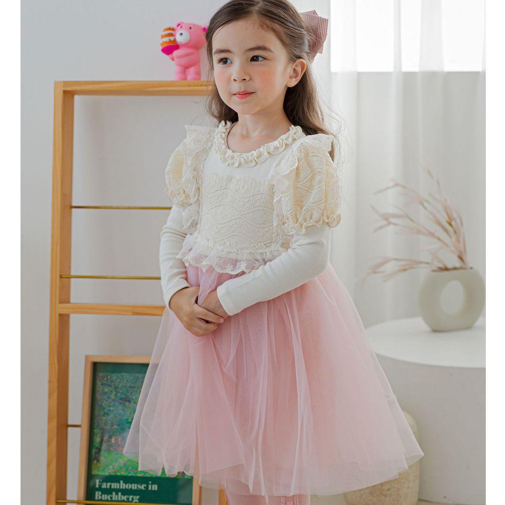 韓國 Mari an u - 華麗雕花蕾絲公主袖網紗洋裝-米白X粉紅