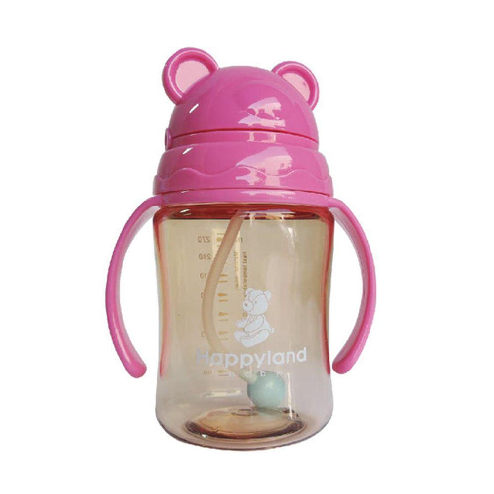 韓國 Pomier 朴蜜兒 - 韓製 HAPPYLAND Tritan 防脹氣十字孔自動果汁杯-粉紅-280mL