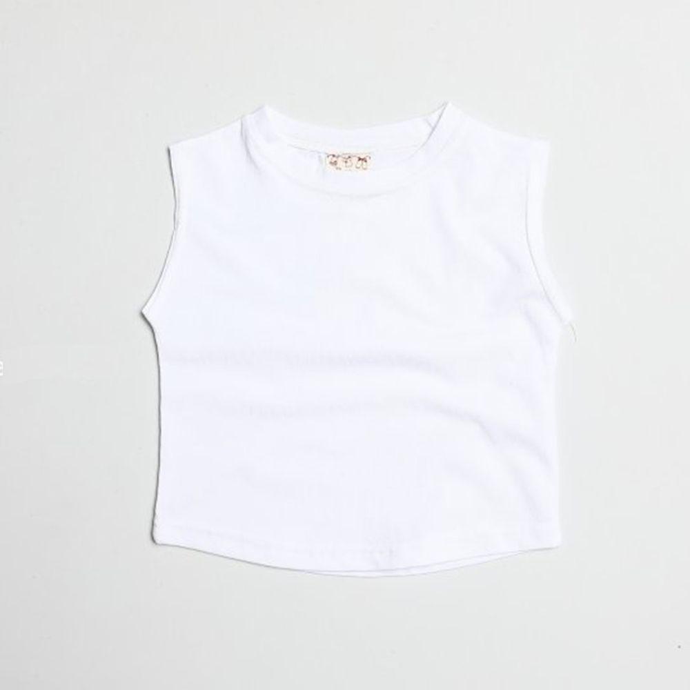 韓國製 - 水洗加工布純棉無袖T-白
