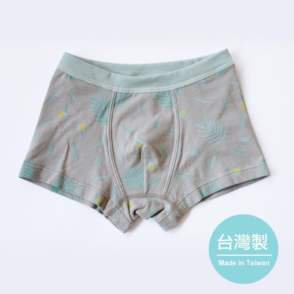 minihope美好的親子生活 - 男童四角內褲-嫩綠穗花杉-灰