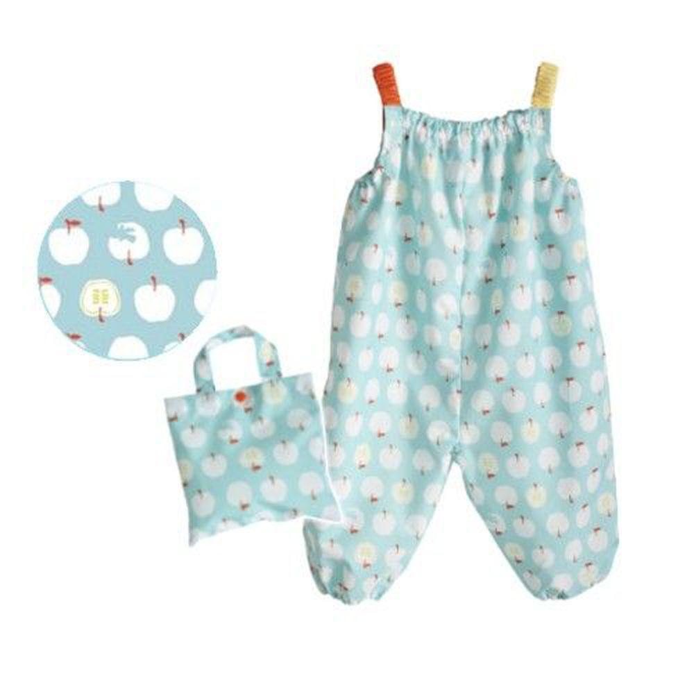 日本 kukka hippo - 小童遊戲服/玩沙衣(附收納袋)-粉綠蘋果 (90cm)