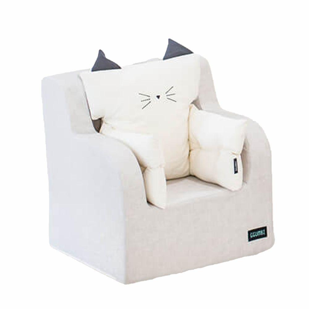 韓國 GGUMBI/DreamB - GGUMBI嬰幼童沙發+貓咪靠墊組-奶油米色