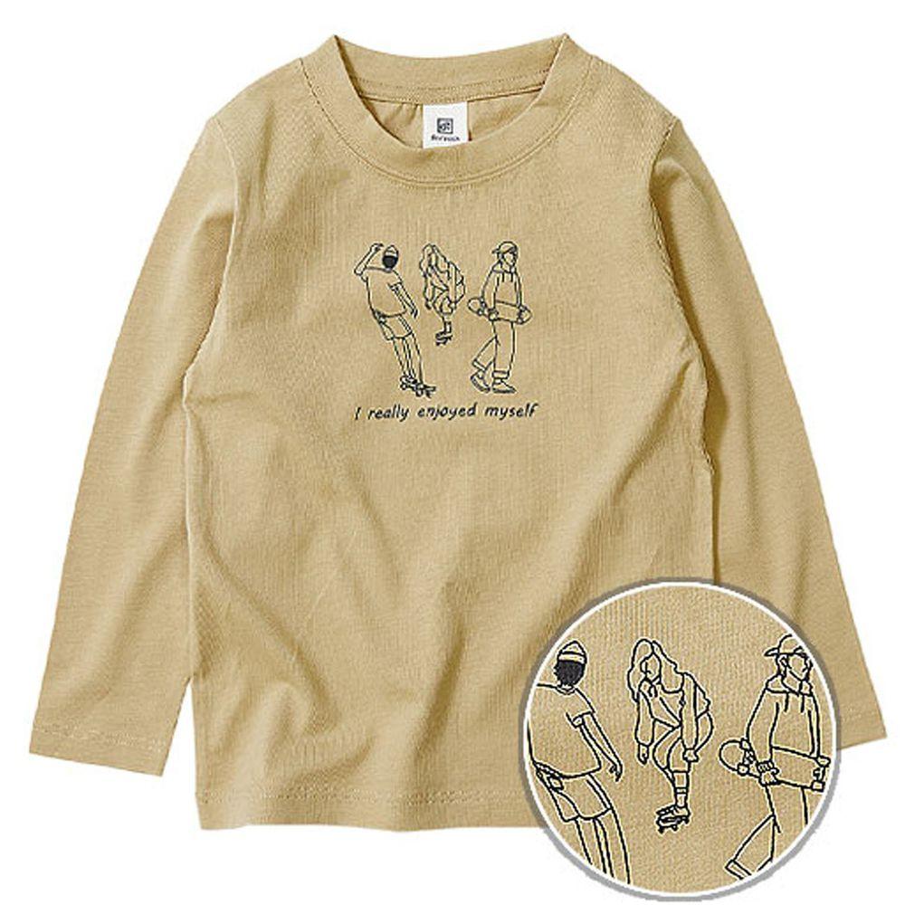 日本 devirock - 純棉 定番百搭印花長T-滑板青春-杏