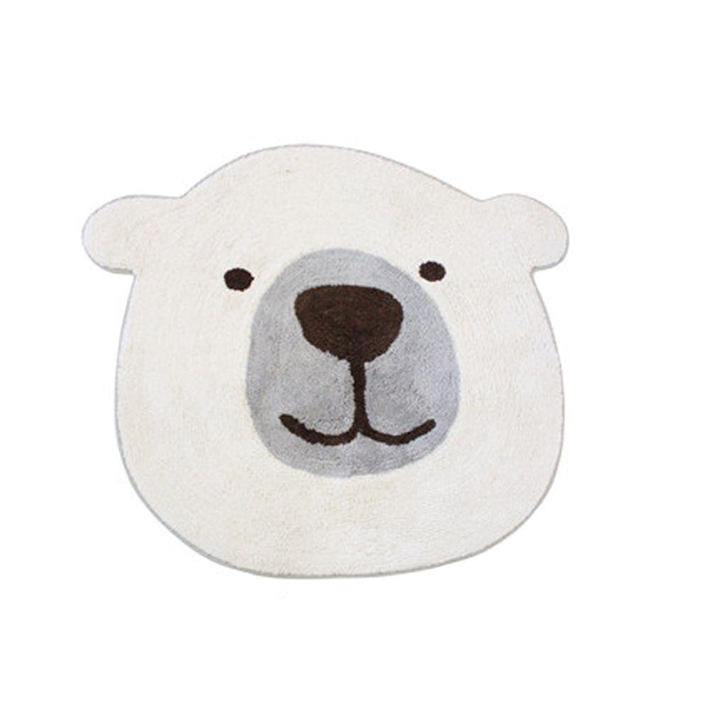 日本 TOMO - 可愛動物大頭地墊/腳踏墊-北極熊-白 (約70×80cm)
