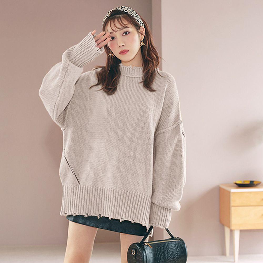 日本 GRL - 寬鬆修身線條微抓破邊衣領針織毛衣-象牙米