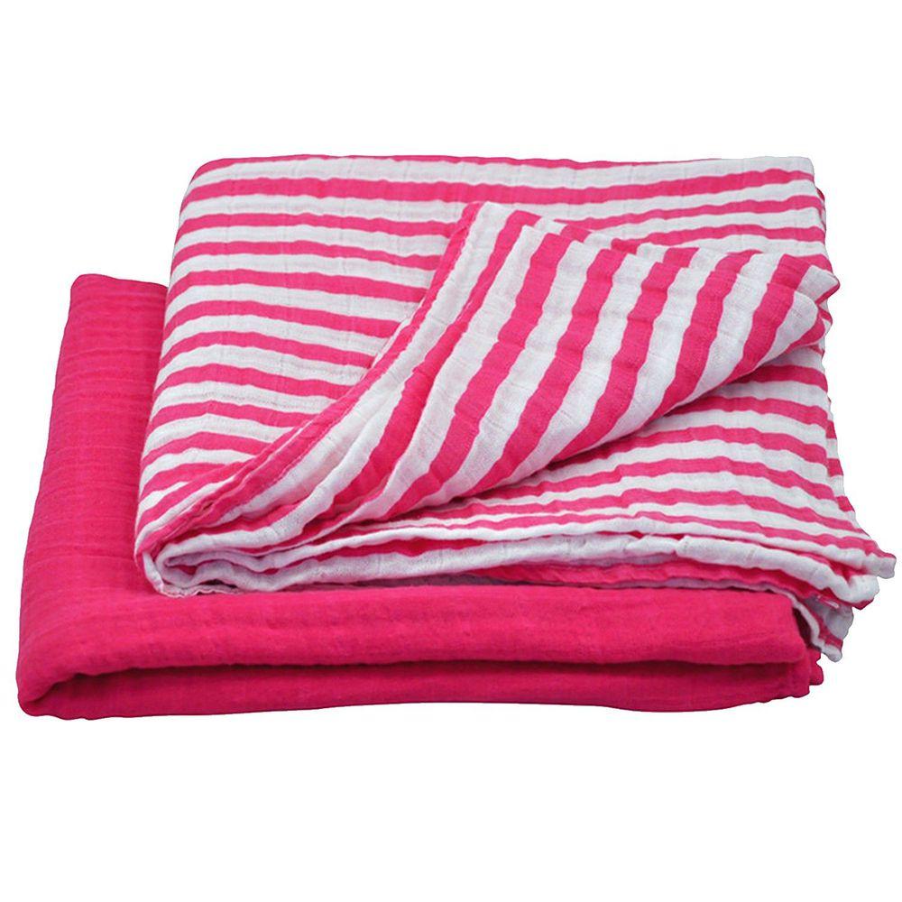 美國 green sprouts - 有機棉細紗浴巾/包巾2入組-桃紅組 (單一尺寸)