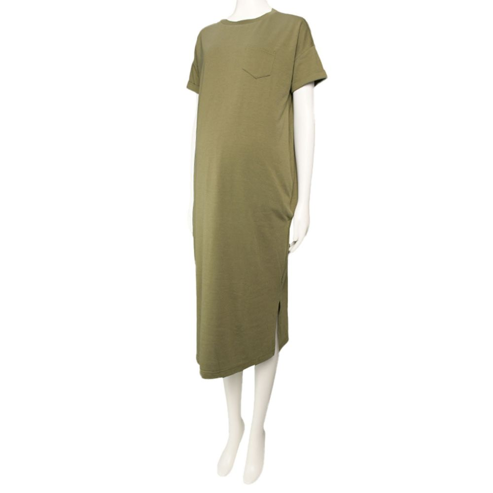 akachan honpo - 短袖側邊開衩洋裝-軍綠色