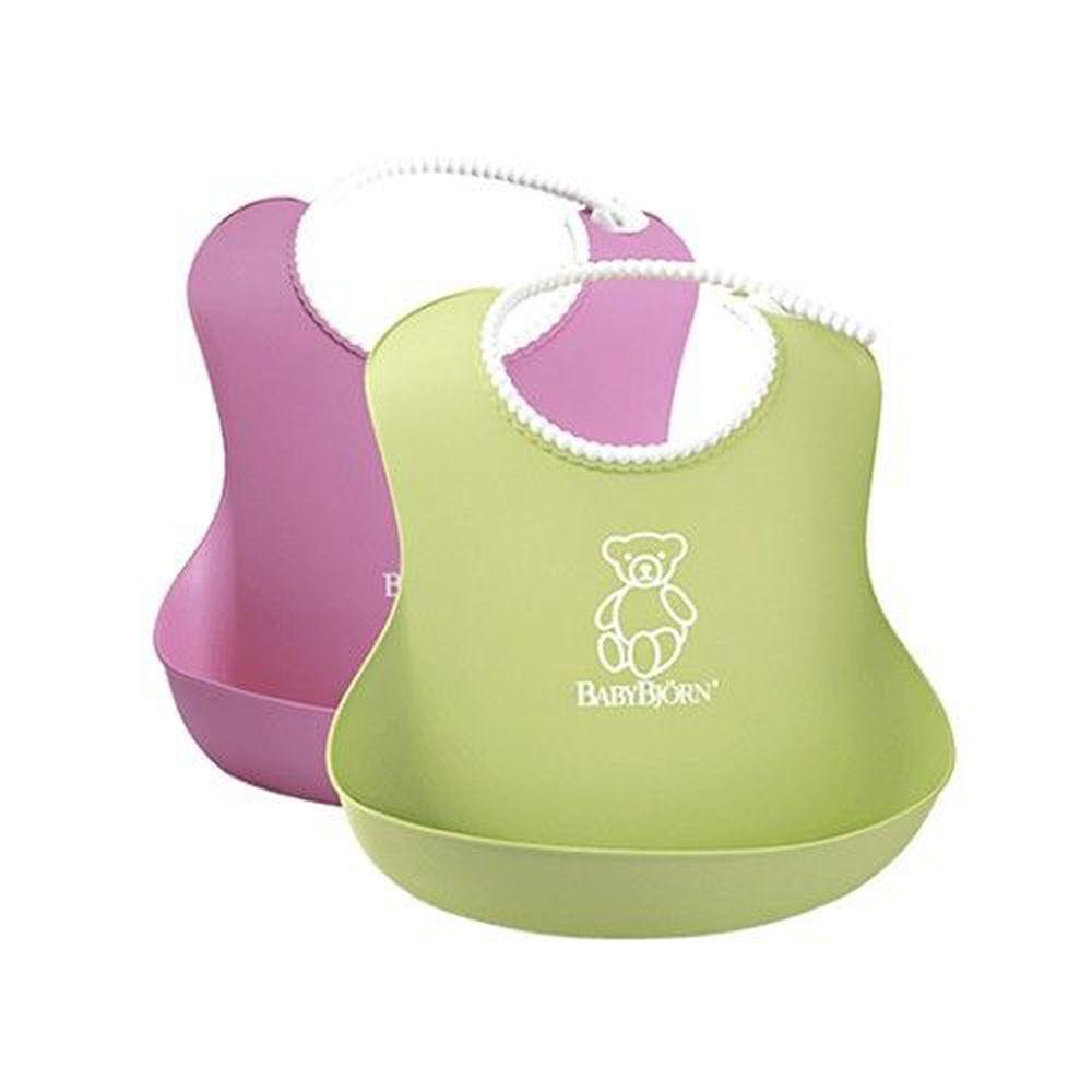 瑞典 Baby Bjorn - 軟膠防碎屑圍兜(2入)-粉紅+綠色