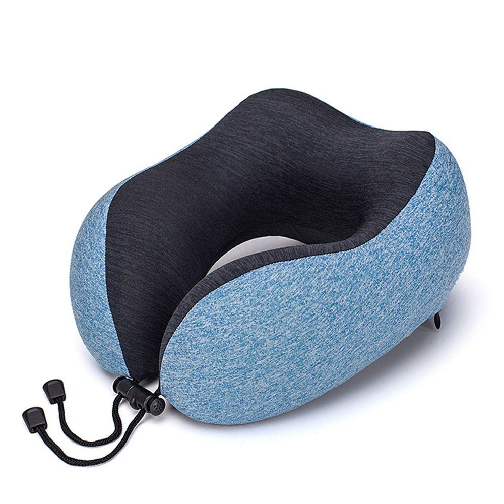 U型記憶頸枕旅行套組-附收納袋、眼罩、耳塞-湖水藍 (25*27*14cm)