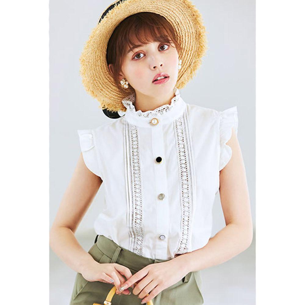 日本 GRL - 不規則排扣蕾絲小飛袖無袖襯衫-天使白 (M)