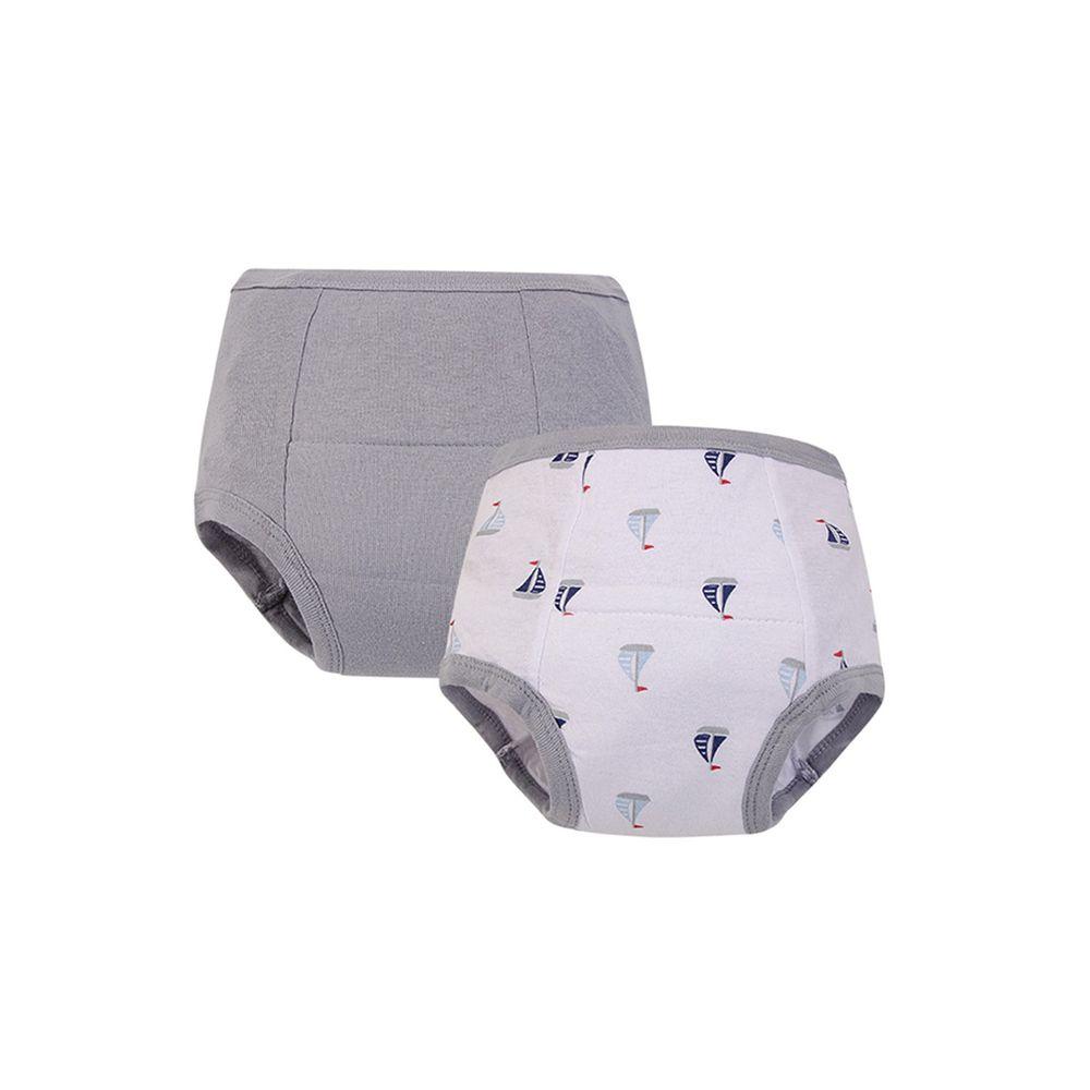 美國 Luvable Friends - 100%純棉嬰幼兒學習褲2件組-灰色帆船
