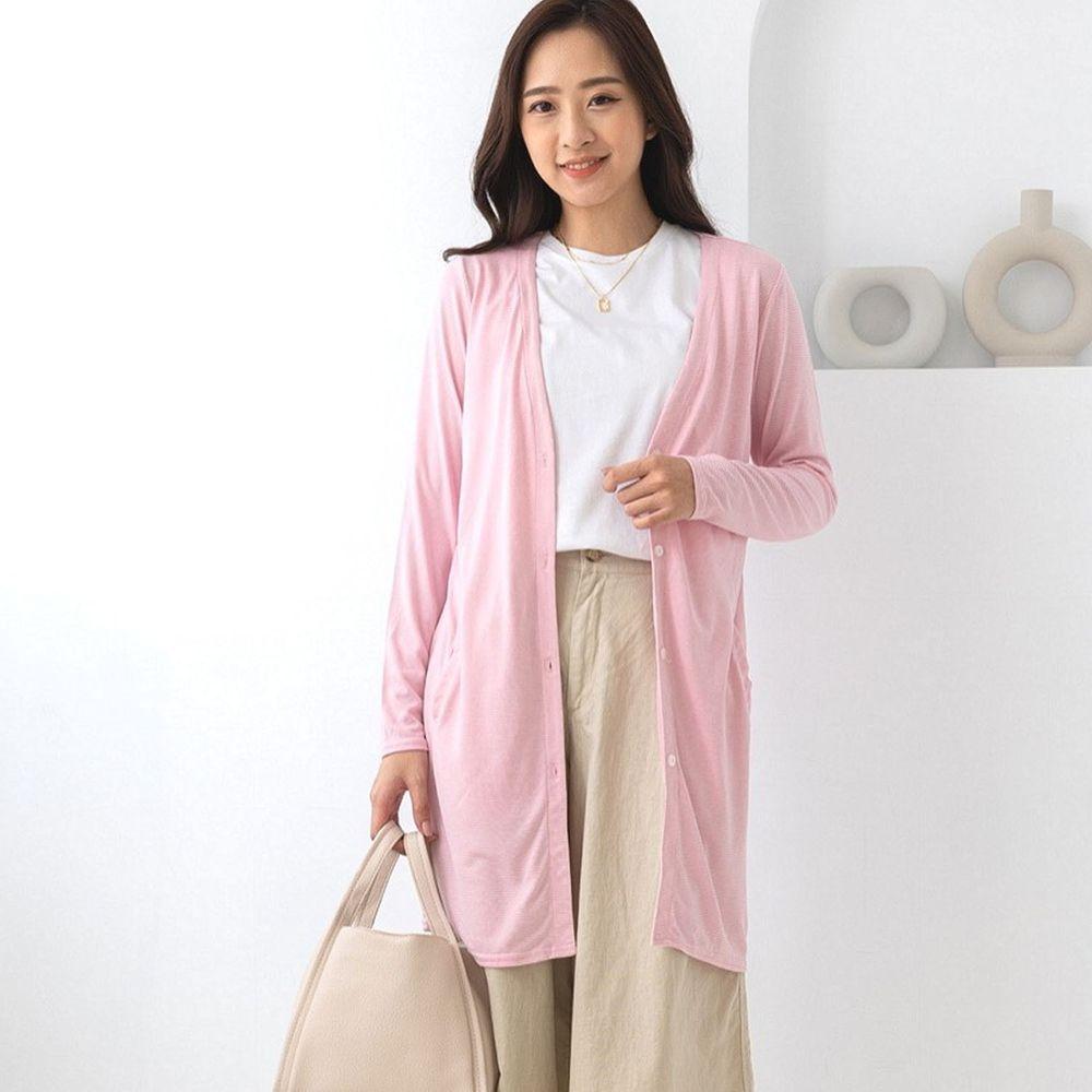 貝柔 Peilou - (新上市)日本水潤白抗UV保濕防曬長版罩衫-V領長版-石英粉