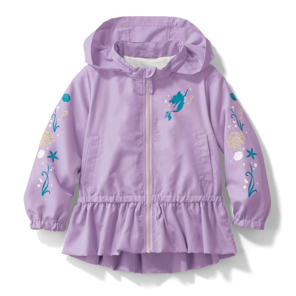 日本千趣會 - 迪士尼公主荷葉衣襬防風連帽外套-小美人魚-紫
