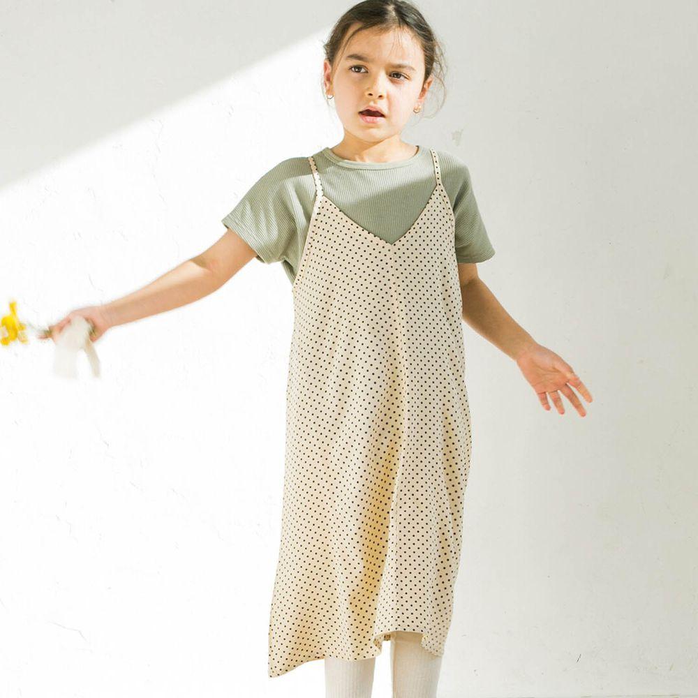 日本 PAIRMANON - 假兩件細肩帶背心短袖洋裝(孩子)-小點點-黑白