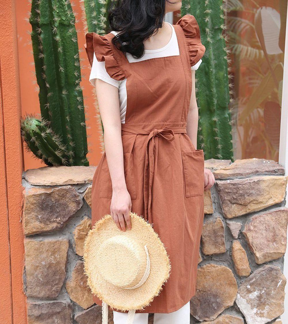 浪漫荷葉袖肩帶圍裙-棕色