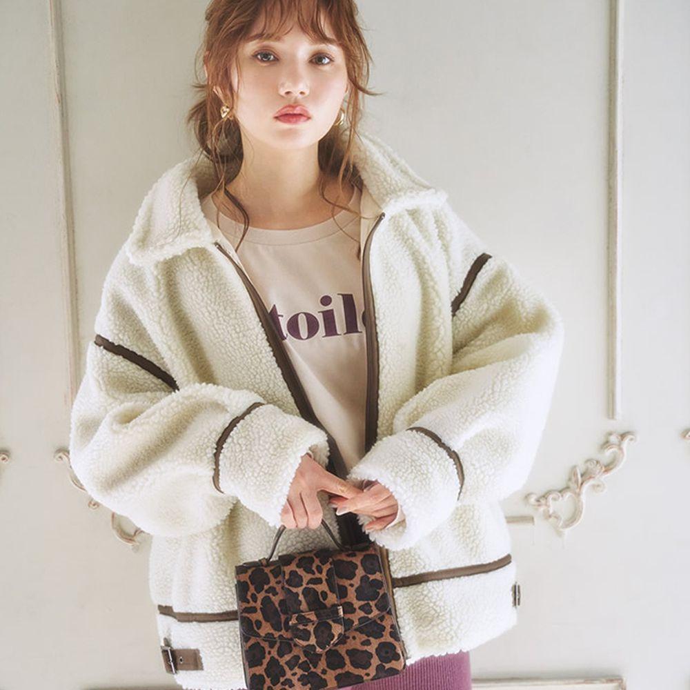 日本 GRL - 率性線條高領泰迪熊刷毛保暖外套-天使白
