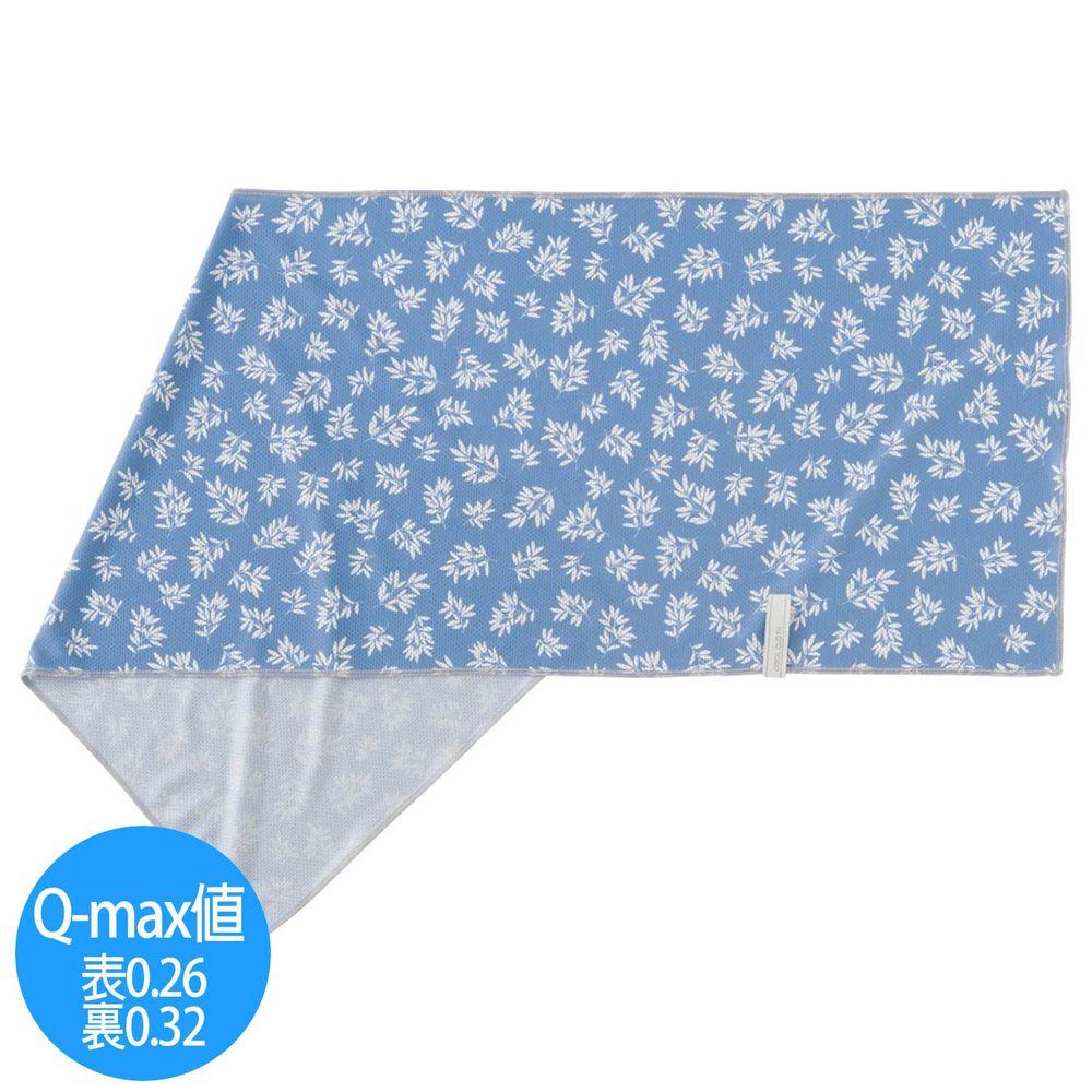 日本小泉 - UV cut 90% 接觸冷感 水涼感巾(附收納袋)-清新樹葉-深藍 (30x90cm)