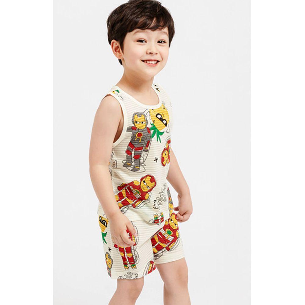 韓國 Mellisse - 韓製輕薄透氣無袖家居服(無螢光棉)-鋼鐵人與帥鳳梨