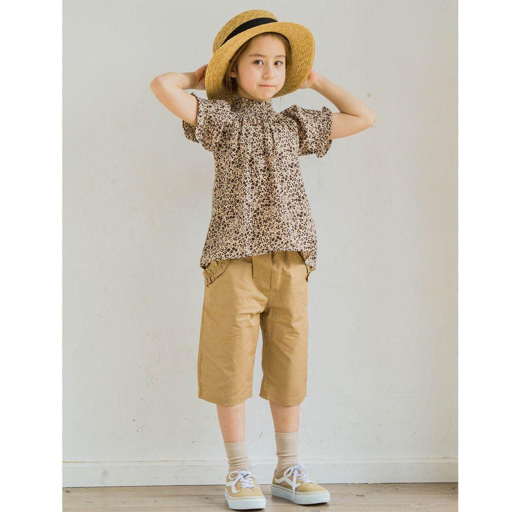 日本 PAIRMANON - 文藝小高領短袖上衣-碎花-咖啡米