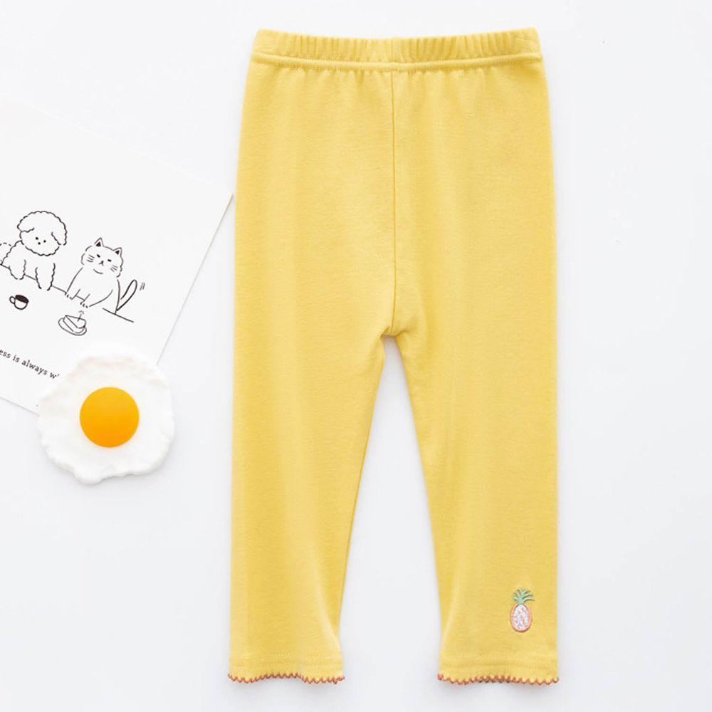 FANMOU - 七分內搭褲(棉質)-刺繡鳳梨-黃色